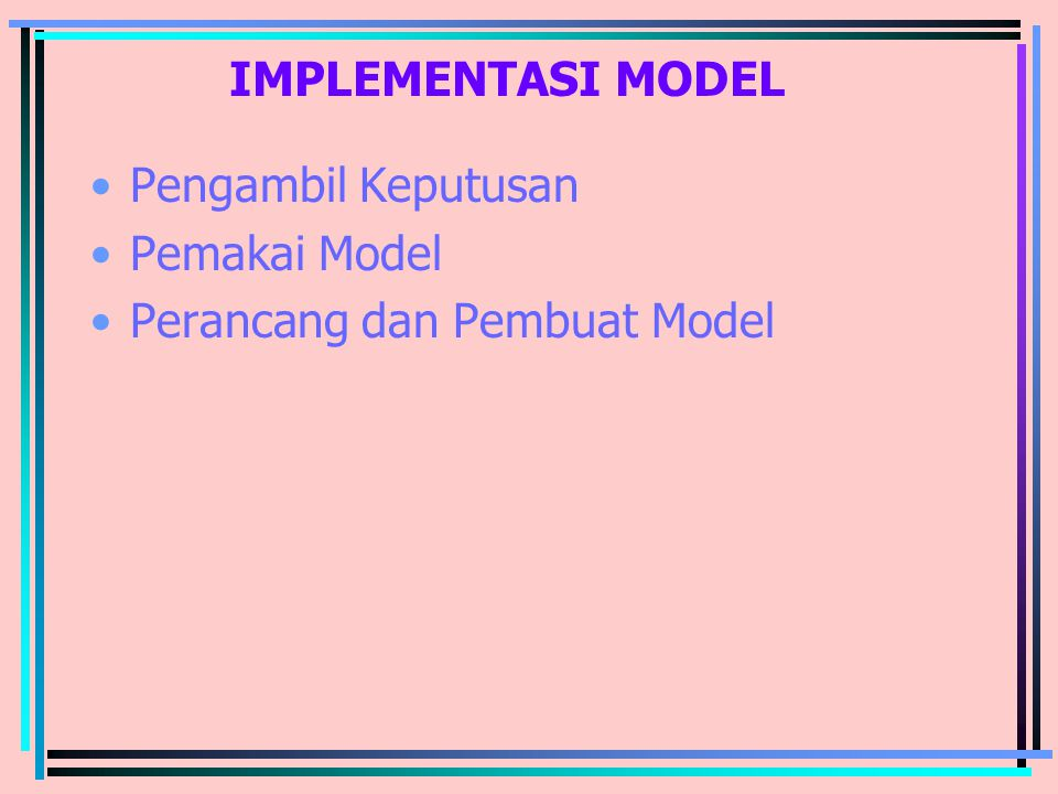 IMPLEMENTASI MODEL Pengambil Keputusan Pemakai Model Perancang dan Pembuat Model