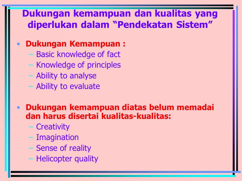 Dukungan kemampuan dan kualitas yang diperlukan dalam Pendekatan Sistem