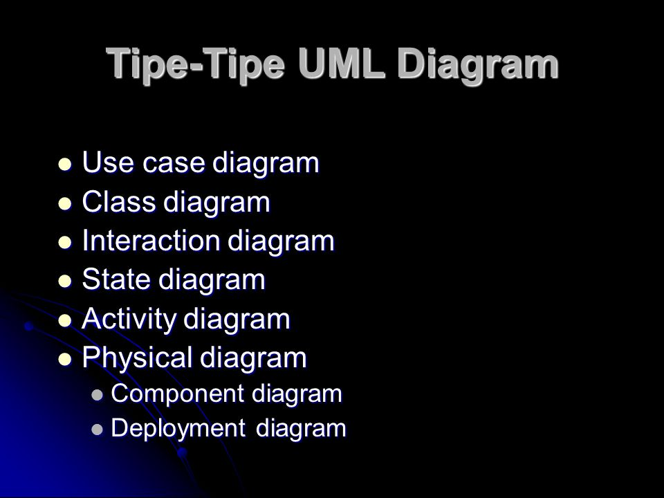 Tipe-Tipe UML Diagram Use case diagram Class diagram