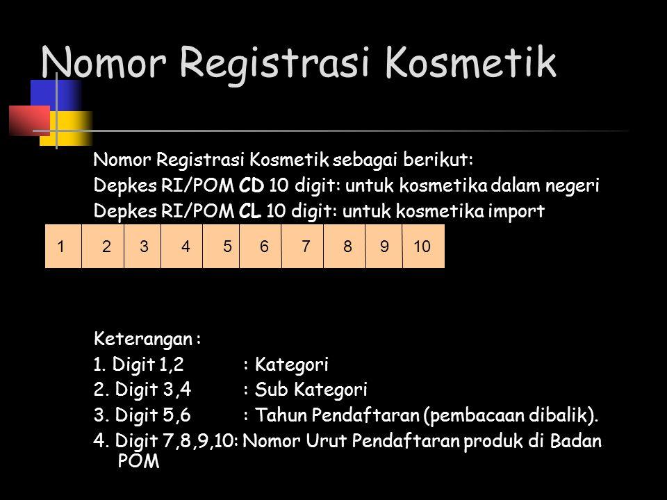 Nomor Registrasi Kosmetik