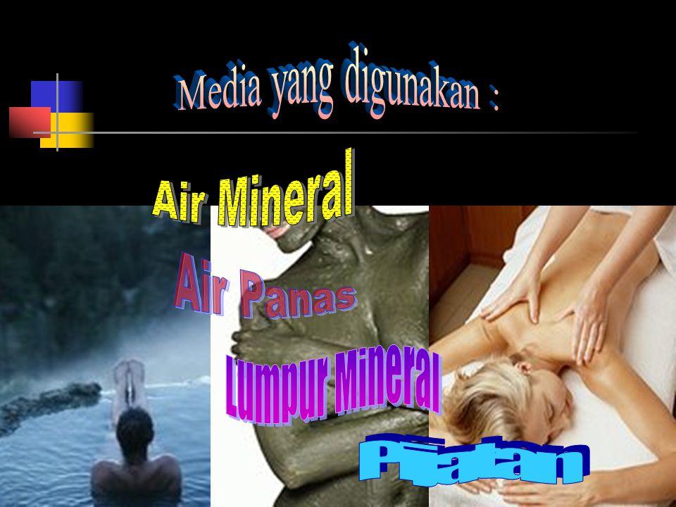 Media yang digunakan : Air Mineral Air Panas Lumpur Mineral Pijatan