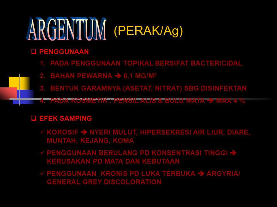 ARGENTUM (PERAK/Ag) PENGGUNAAN