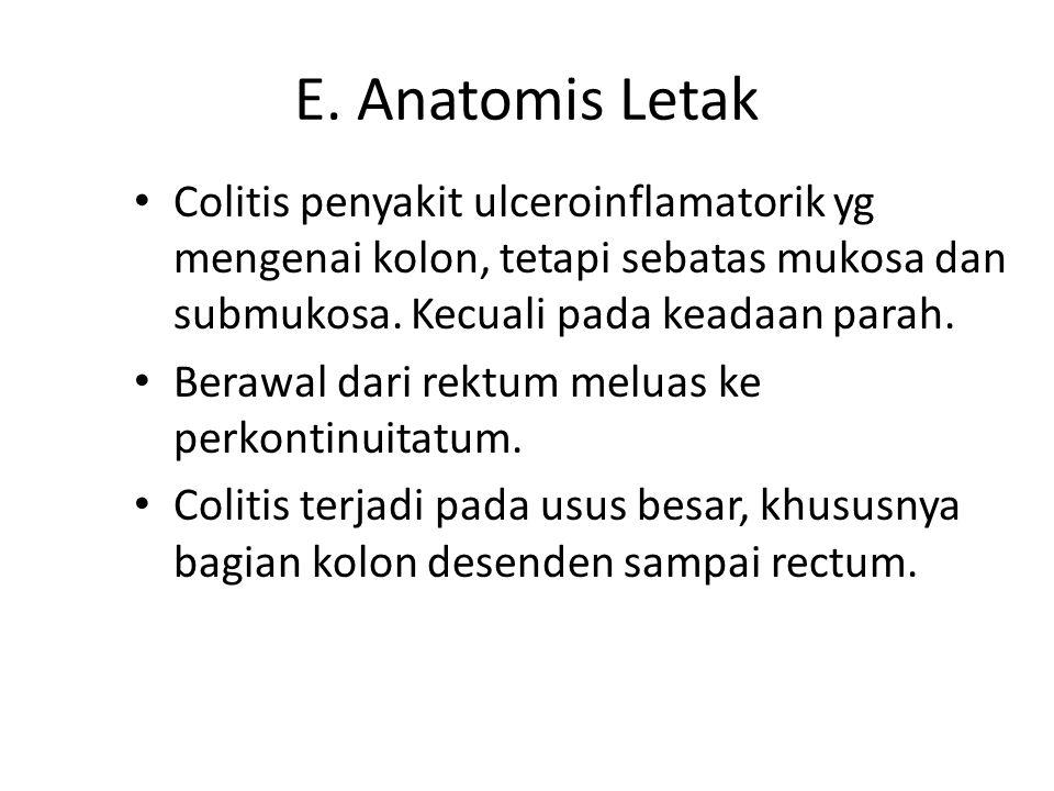 E. Anatomis Letak Colitis penyakit ulceroinflamatorik yg mengenai kolon, tetapi sebatas mukosa dan submukosa. Kecuali pada keadaan parah.