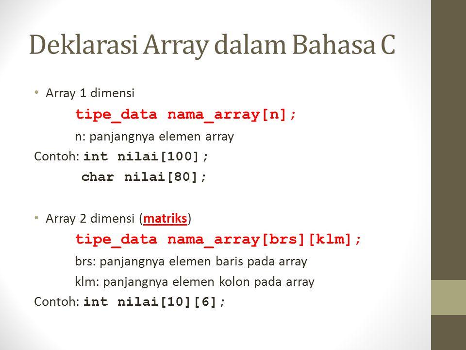 Deklarasi Array dalam Bahasa C