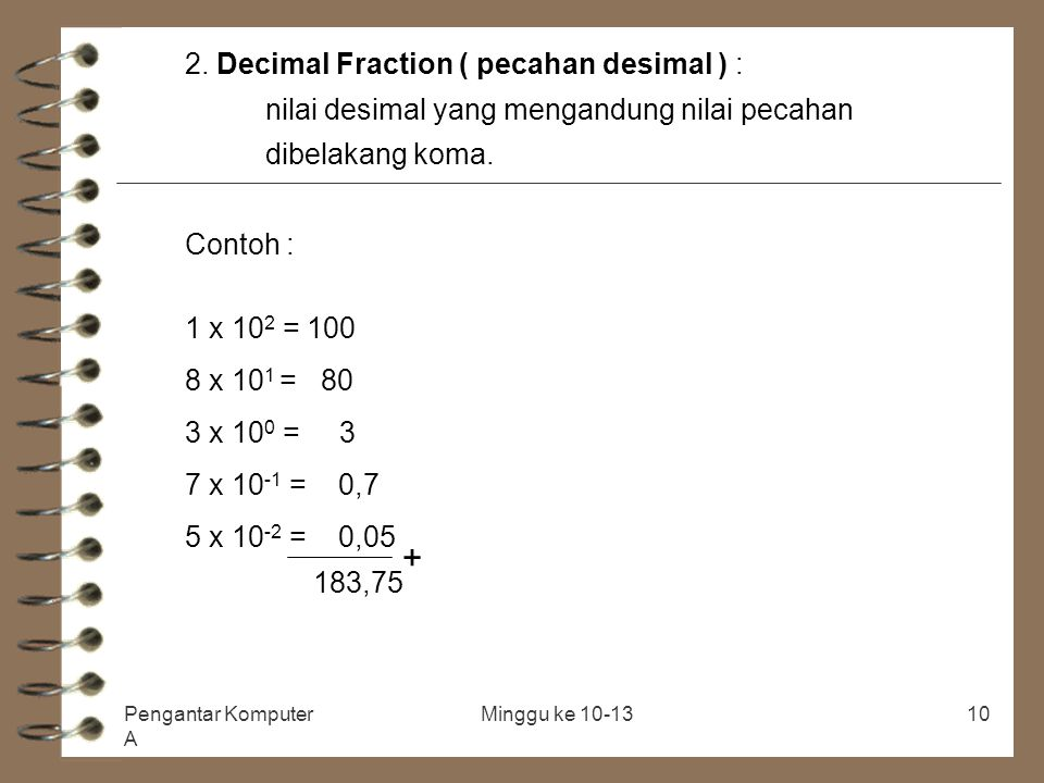 + 2. Decimal Fraction ( pecahan desimal ) :