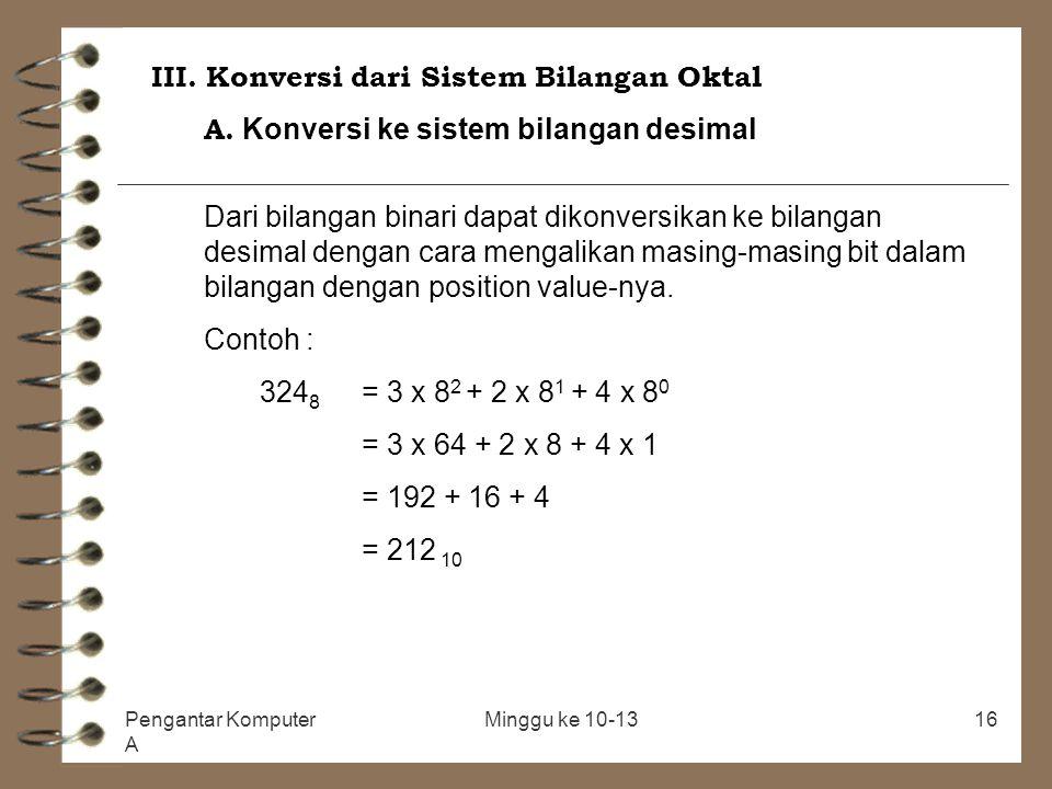 III. Konversi dari Sistem Bilangan Oktal