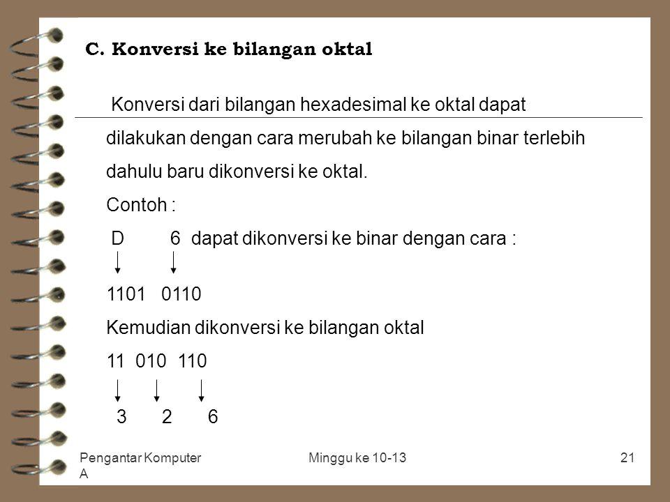 C. Konversi ke bilangan oktal