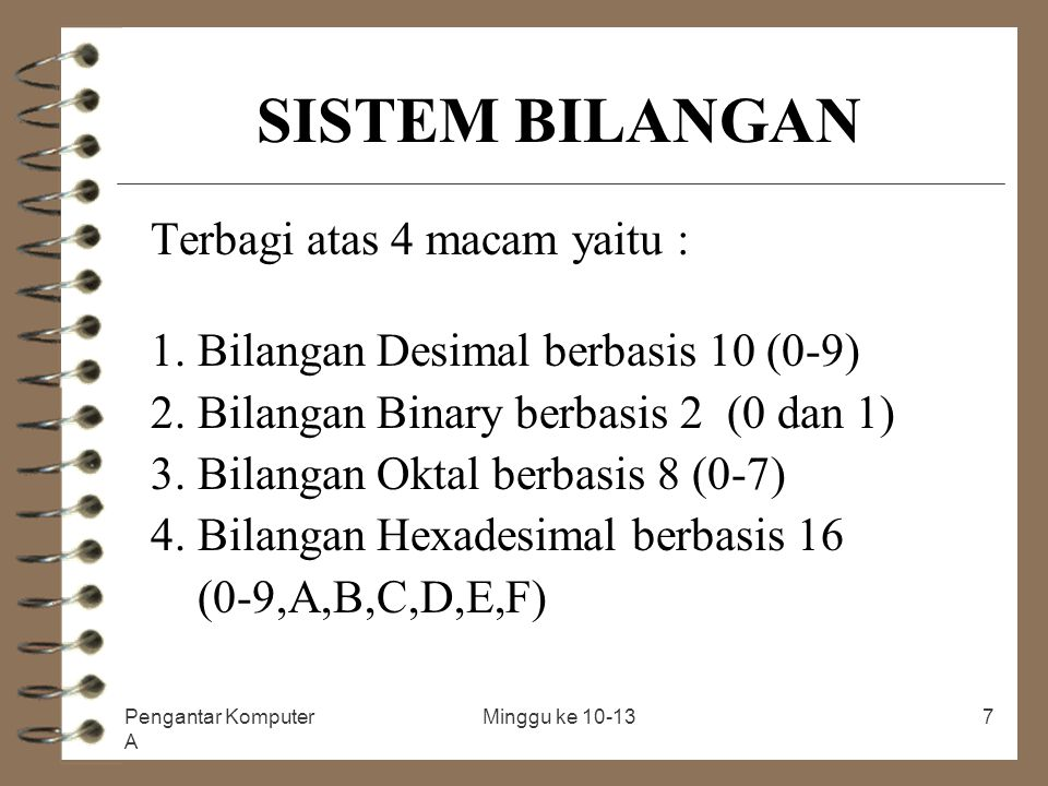SISTEM BILANGAN Terbagi atas 4 macam yaitu :