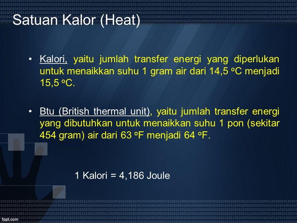 Satuan Kalor (Heat) Kalori, yaitu jumlah transfer energi yang diperlukan untuk menaikkan suhu 1 gram air dari 14,5 oC menjadi 15,5 oC.