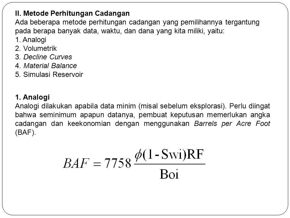 II. Metode Perhitungan Cadangan