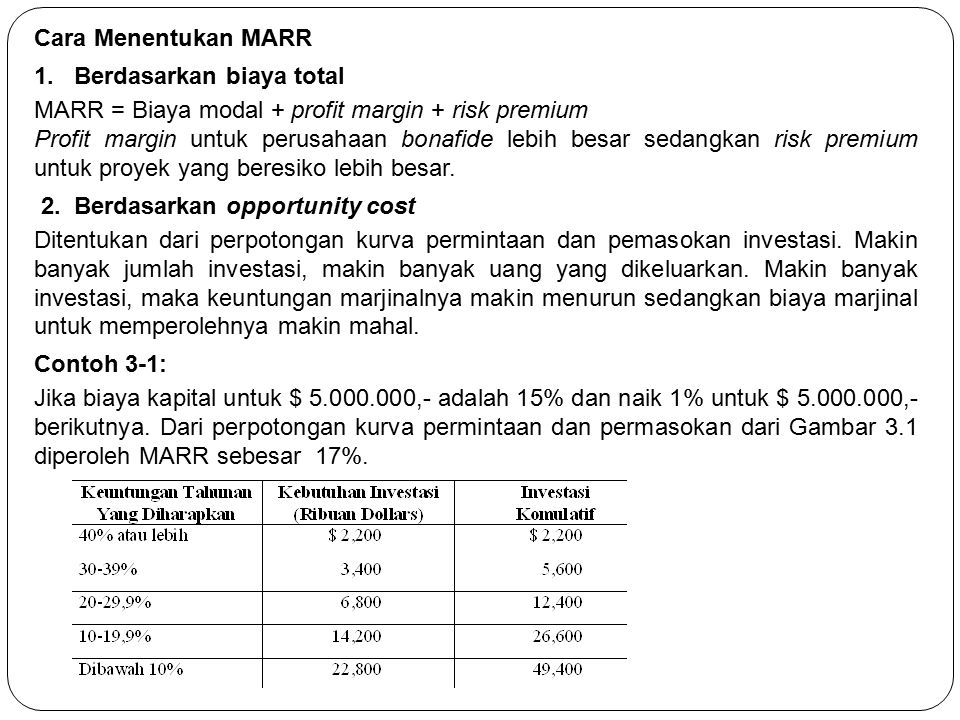 Cara Menentukan MARR 1. Berdasarkan biaya total. MARR = Biaya modal + profit margin + risk premium.
