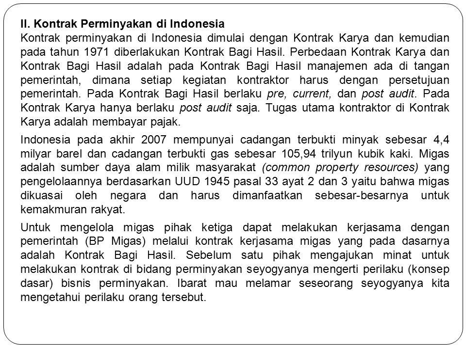 II. Kontrak Perminyakan di Indonesia