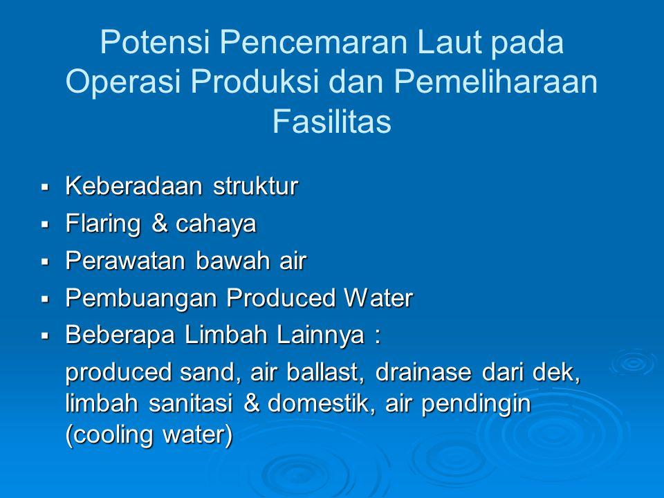 Potensi Pencemaran Laut pada Operasi Produksi dan Pemeliharaan Fasilitas