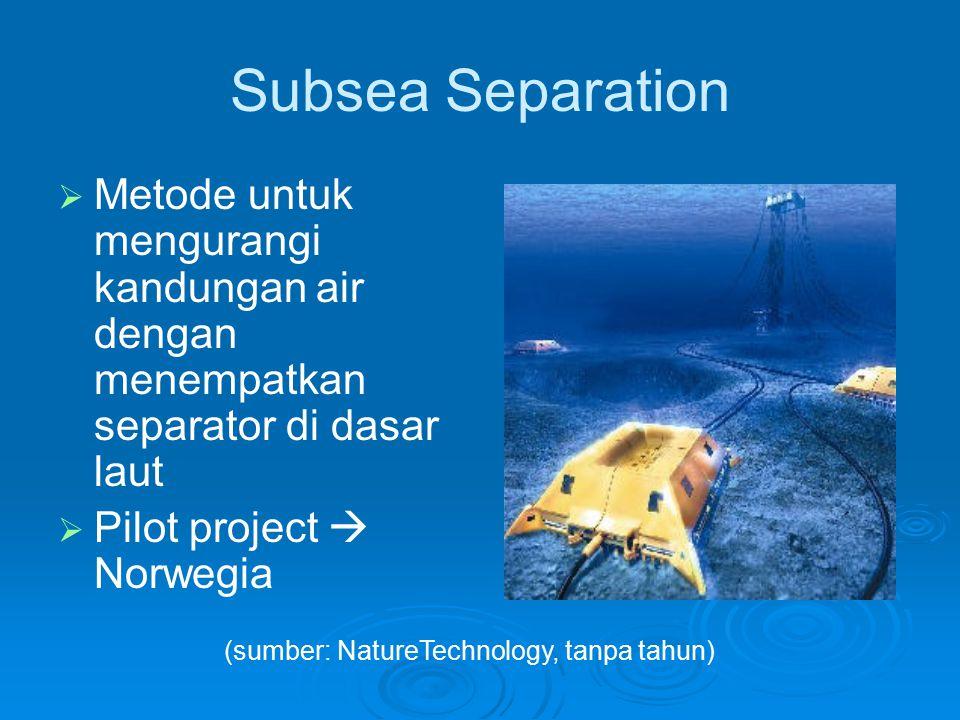 Subsea Separation Metode untuk mengurangi kandungan air dengan menempatkan separator di dasar laut.
