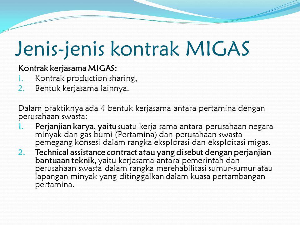 Jenis-jenis kontrak MIGAS