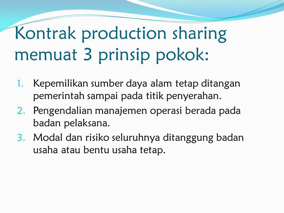 Kontrak production sharing memuat 3 prinsip pokok: