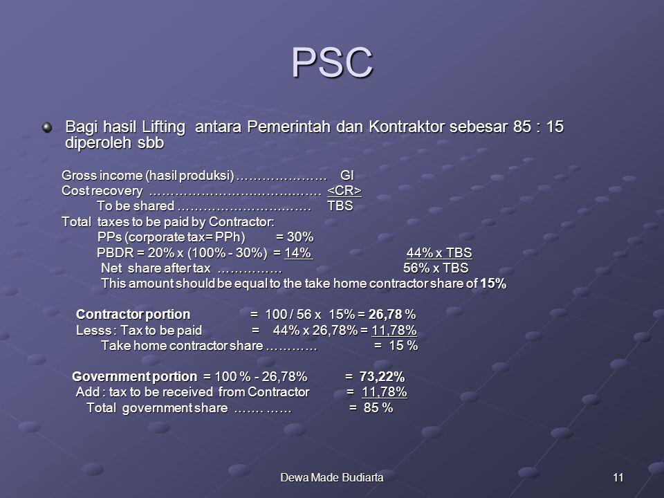 PSC Bagi hasil Lifting antara Pemerintah dan Kontraktor sebesar 85 : 15 diperoleh sbb. Gross income (hasil produksi) ………………… GI.