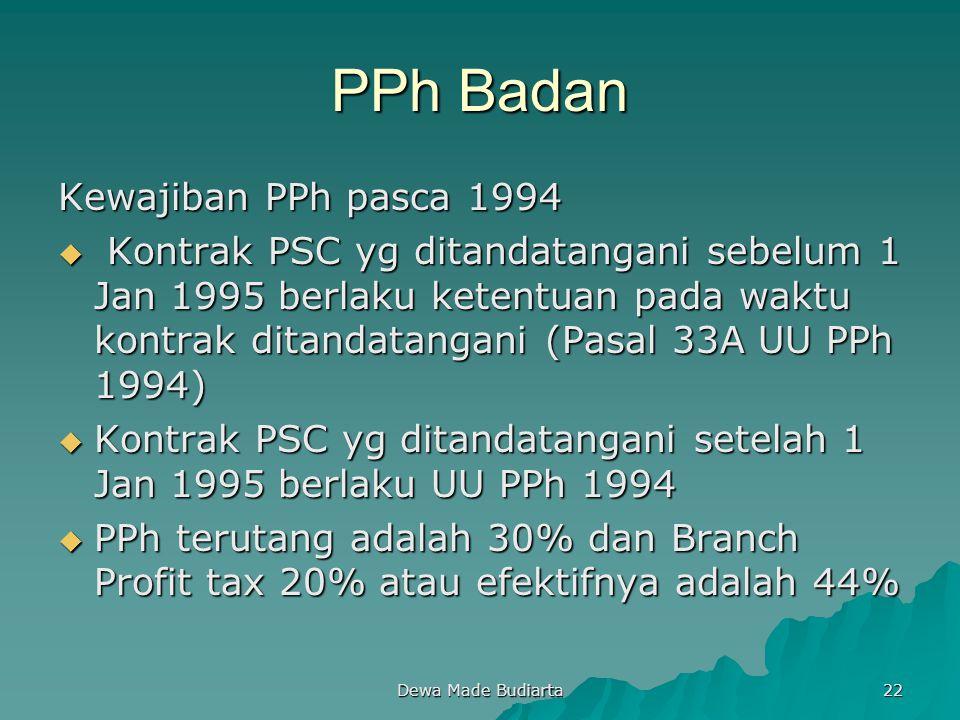 PPh Badan Kewajiban PPh pasca 1994