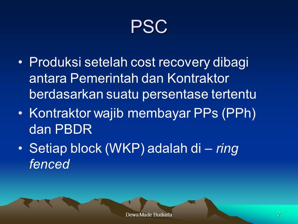 PSC Produksi setelah cost recovery dibagi antara Pemerintah dan Kontraktor berdasarkan suatu persentase tertentu.