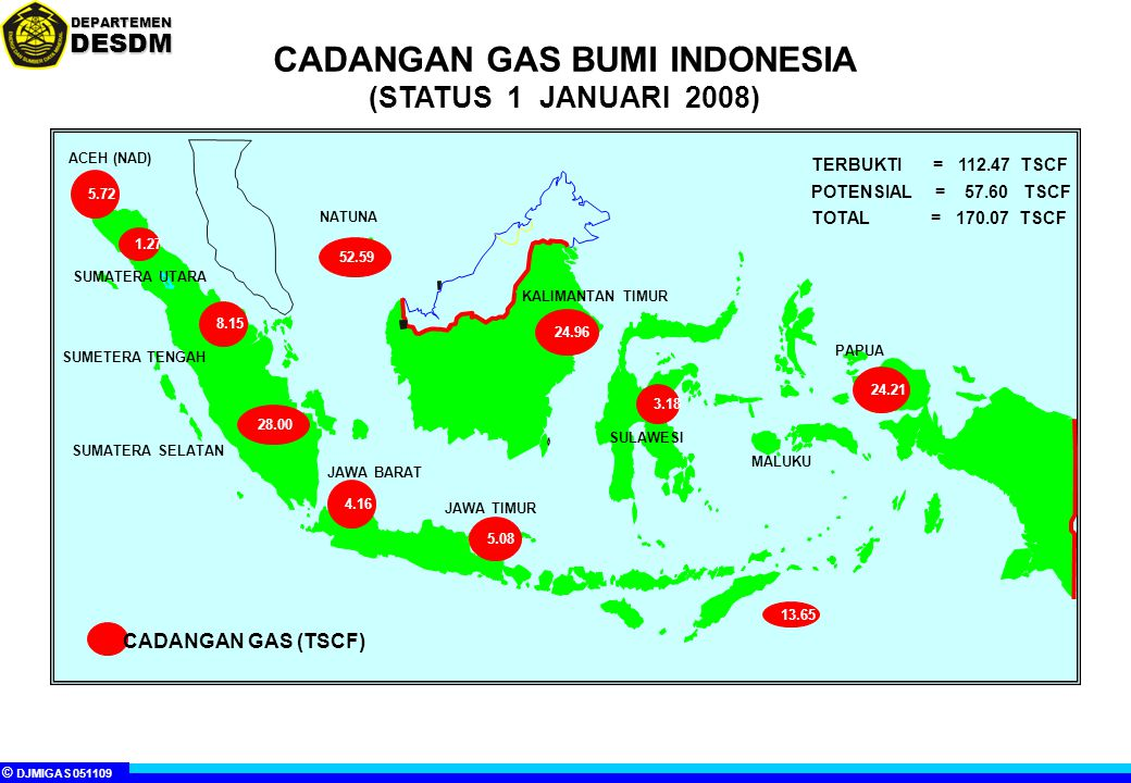 CADANGAN GAS BUMI INDONESIA (STATUS 1 JANUARI 2008)