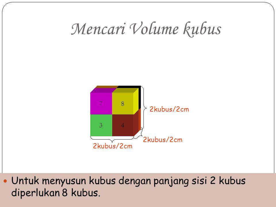Mencari Volume kubus 5. 6. 7. 8. 2kubus/2cm. 1. 2. 3. 4. 2kubus/2cm. 2kubus/2cm.