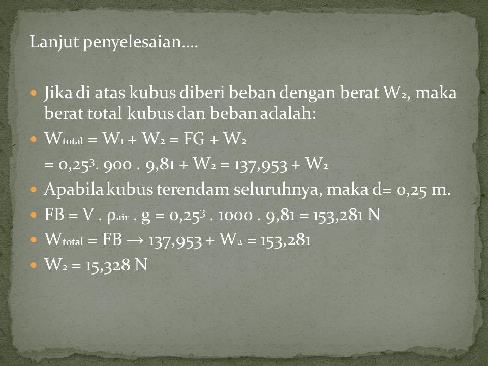 Lanjut penyelesaian…. Jika di atas kubus diberi beban dengan berat W2, maka berat total kubus dan beban adalah:
