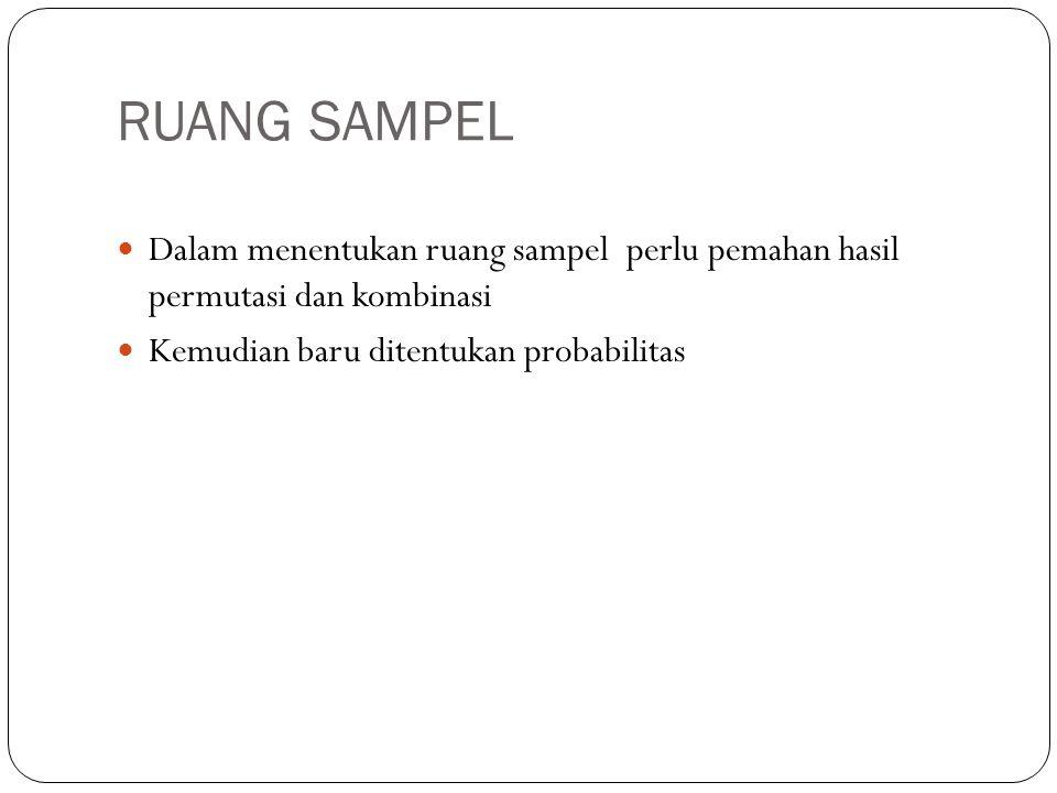 RUANG SAMPEL Dalam menentukan ruang sampel perlu pemahan hasil permutasi dan kombinasi.