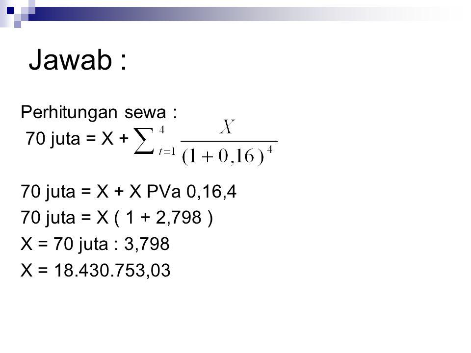 Jawab : Perhitungan sewa : 70 juta = X + 70 juta = X + X PVa 0,16,4