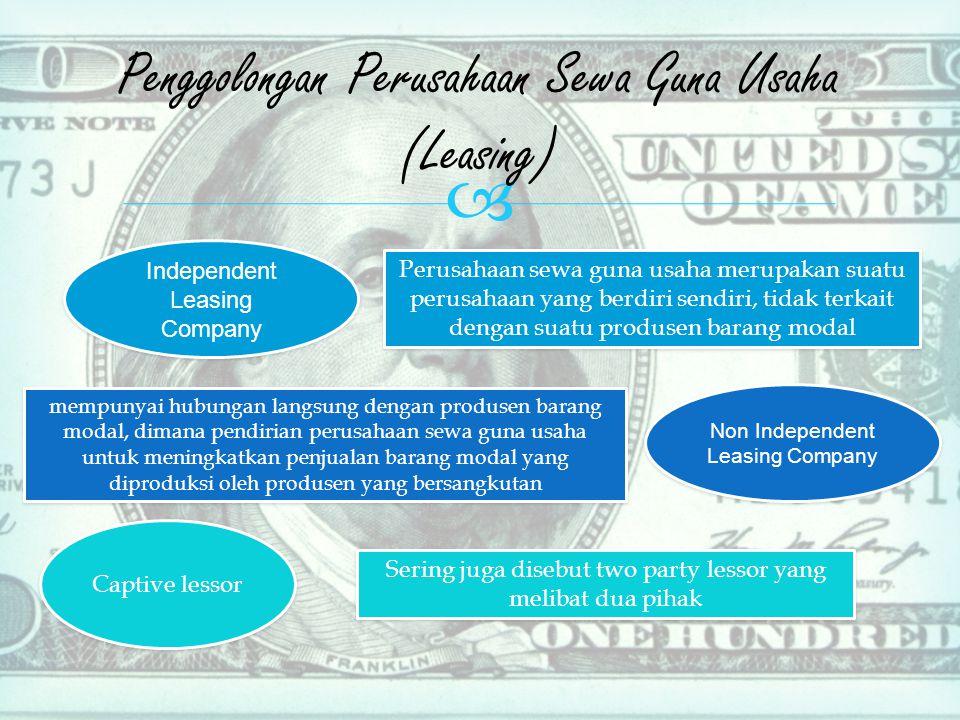 Penggolongan Perusahaan Sewa Guna Usaha (Leasing)