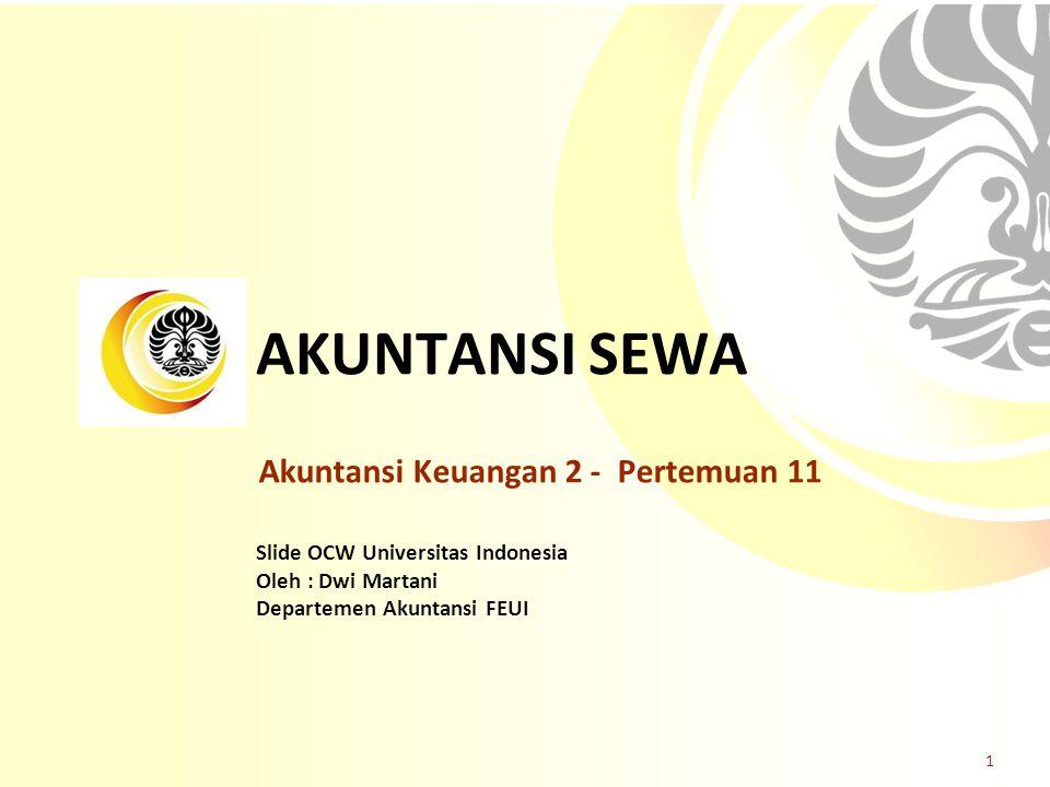 AKUNTANSI SEWA Akuntansi Keuangan 2 - Pertemuan 11