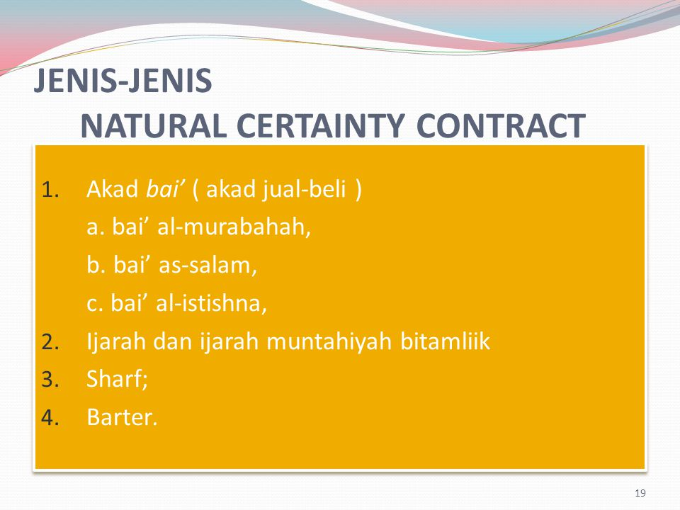 JENIS-JENIS NATURAL CERTAINTY CONTRACT