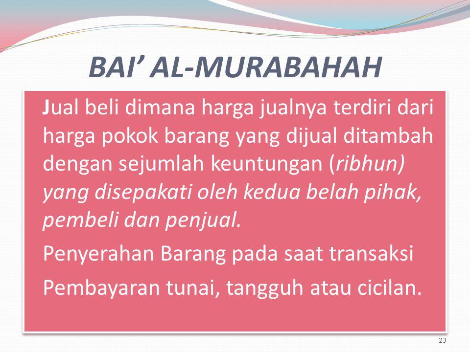 BAI' AL-MURABAHAH Penyerahan Barang pada saat transaksi
