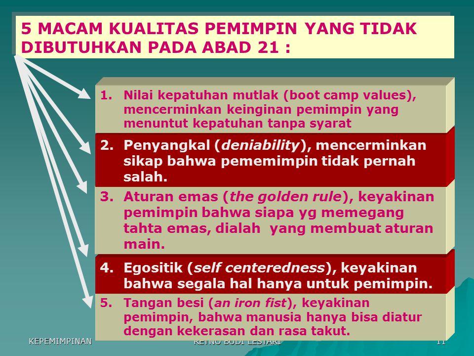 5 MACAM KUALITAS PEMIMPIN YANG TIDAK DIBUTUHKAN PADA ABAD 21 :