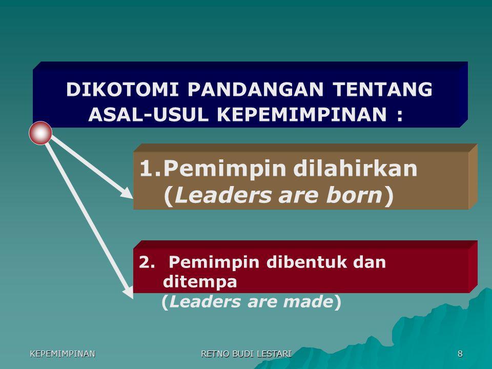 DIKOTOMI PANDANGAN TENTANG ASAL-USUL KEPEMIMPINAN :