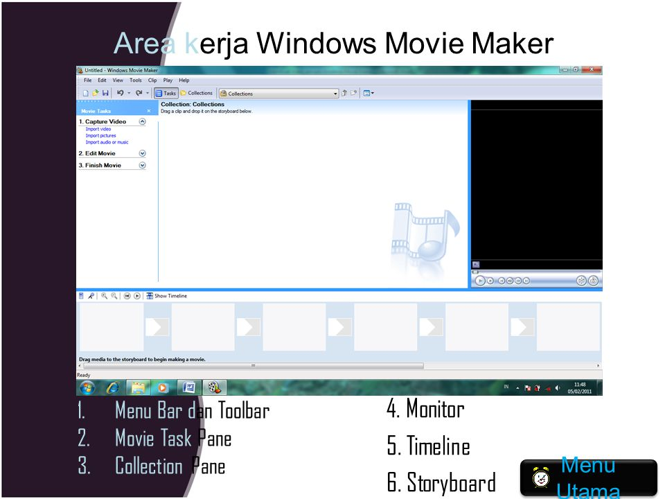 Area kerja Windows Movie Maker