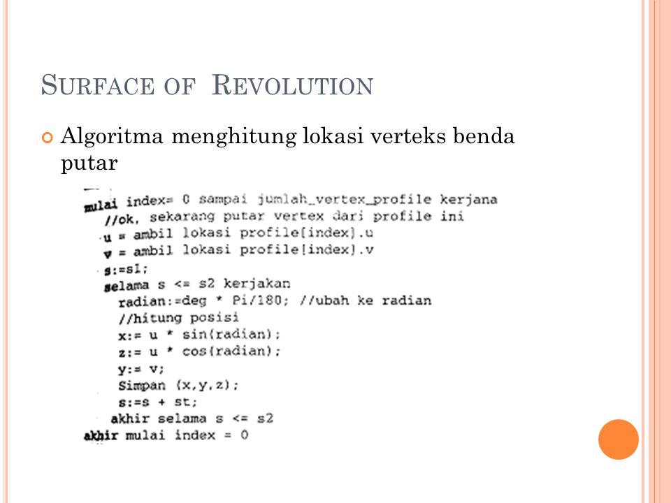 Surface of Revolution Algoritma menghitung lokasi verteks benda putar