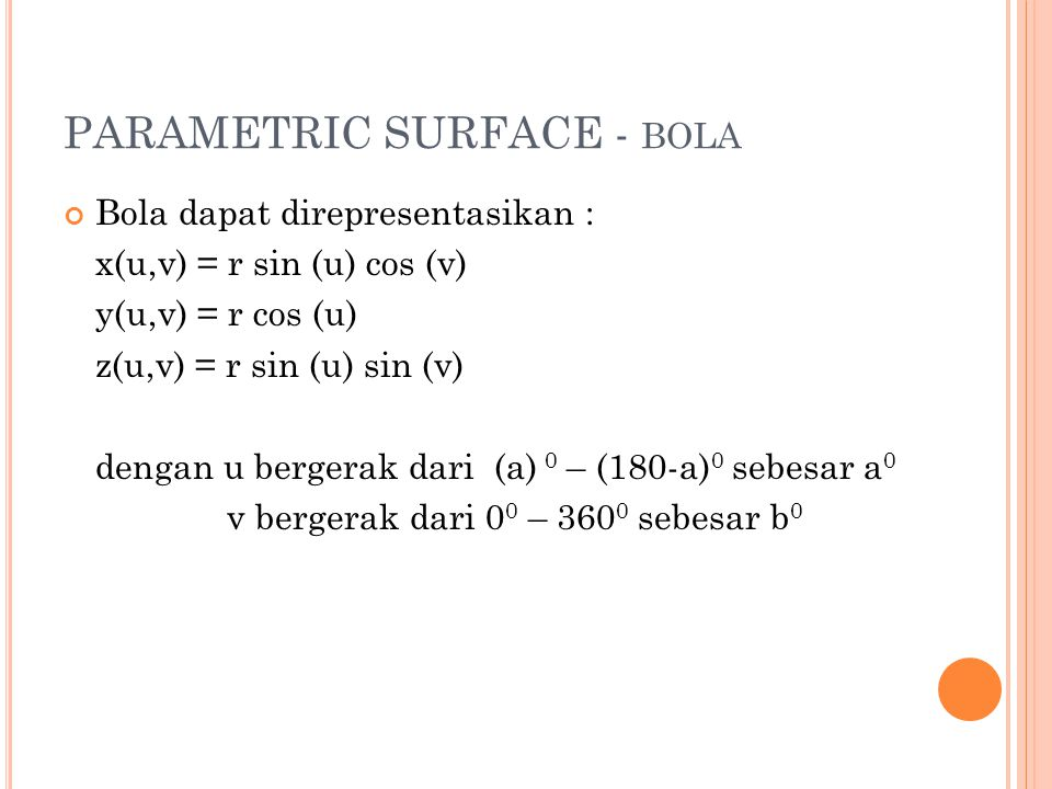 PARAMETRIC SURFACE - bola