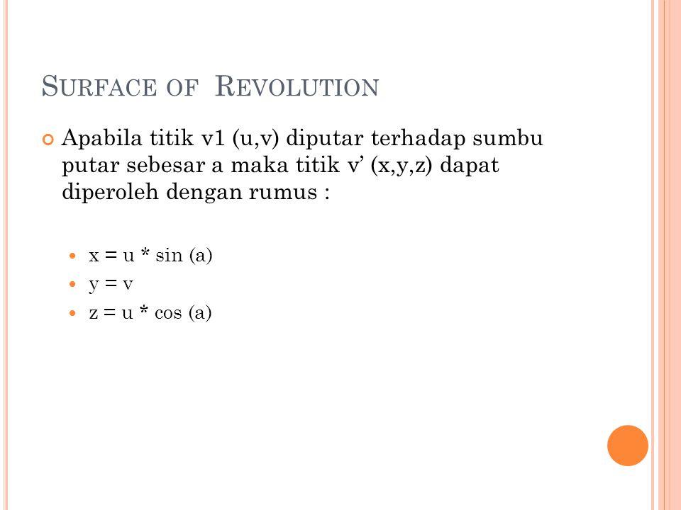 Surface of Revolution Apabila titik v1 (u,v) diputar terhadap sumbu putar sebesar a maka titik v' (x,y,z) dapat diperoleh dengan rumus :