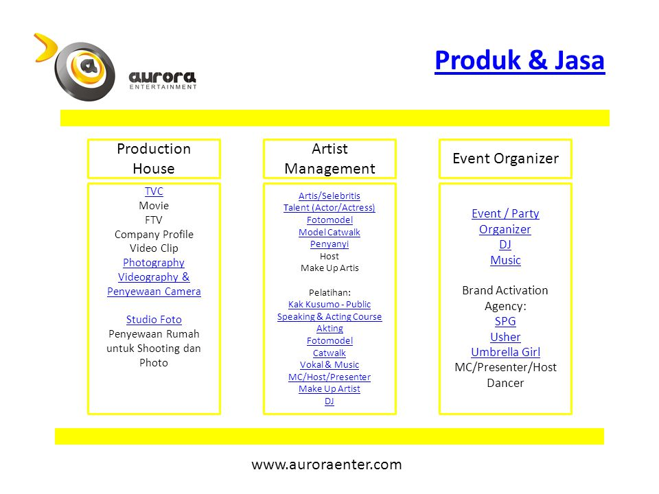 Produk & Jasa Production House Artist Management Event Organizer