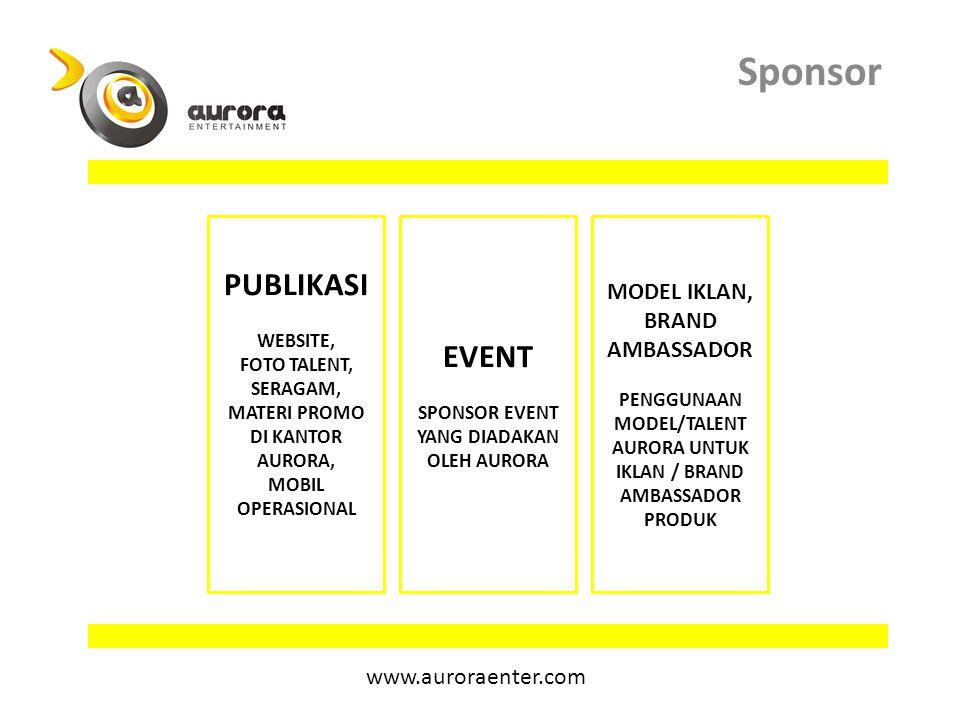 Sponsor publikasi event Model iklan, brand ambassador