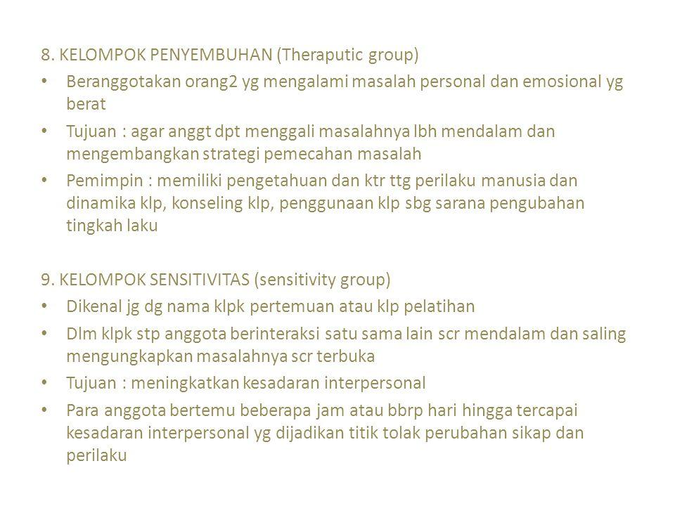 8. KELOMPOK PENYEMBUHAN (Theraputic group)
