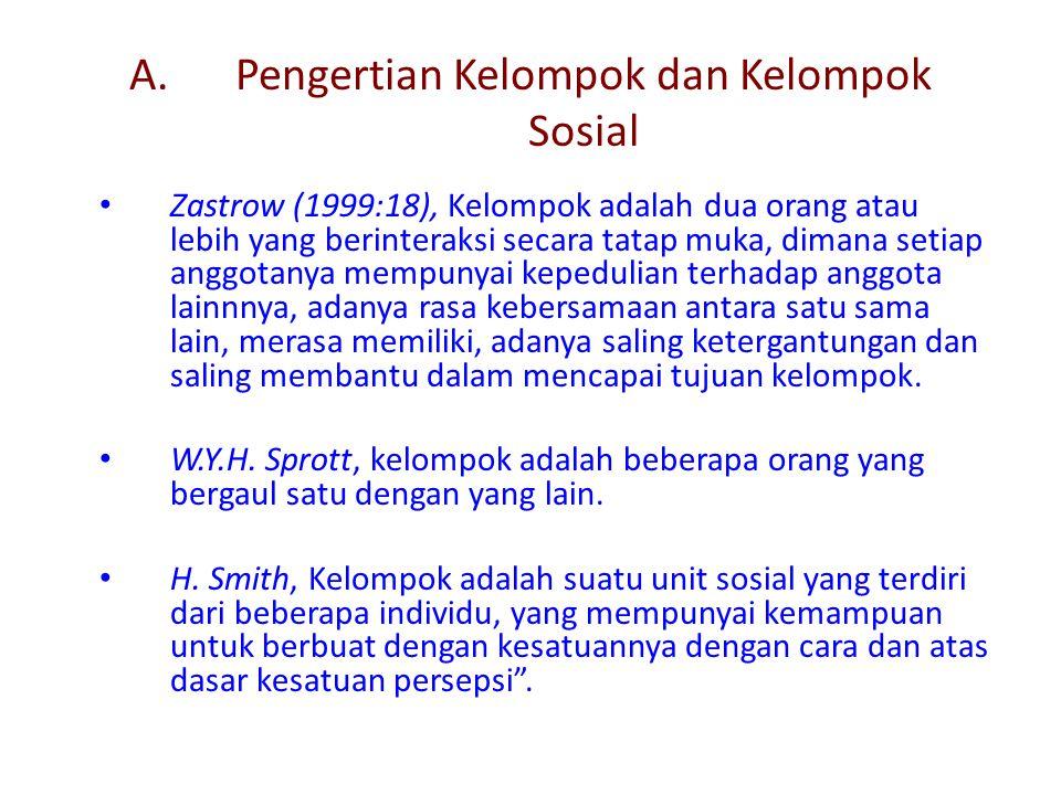 A. Pengertian Kelompok dan Kelompok Sosial