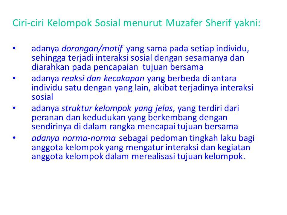 Ciri-ciri Kelompok Sosial menurut Muzafer Sherif yakni: