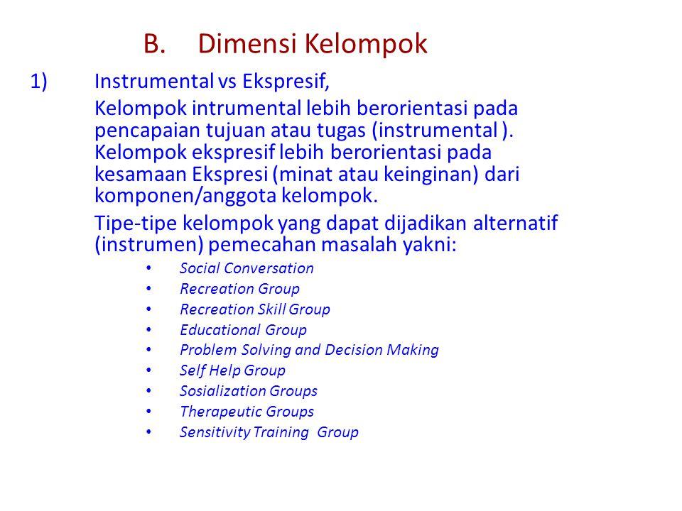 B. Dimensi Kelompok 1) Instrumental vs Ekspresif,