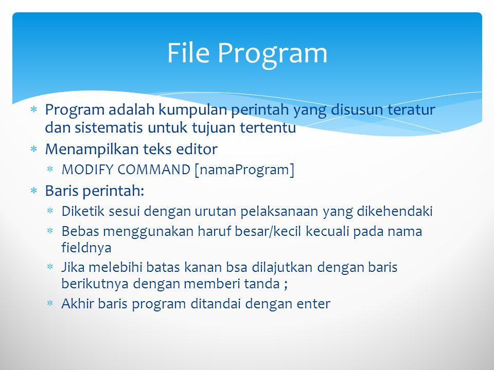File Program Program adalah kumpulan perintah yang disusun teratur dan sistematis untuk tujuan tertentu.