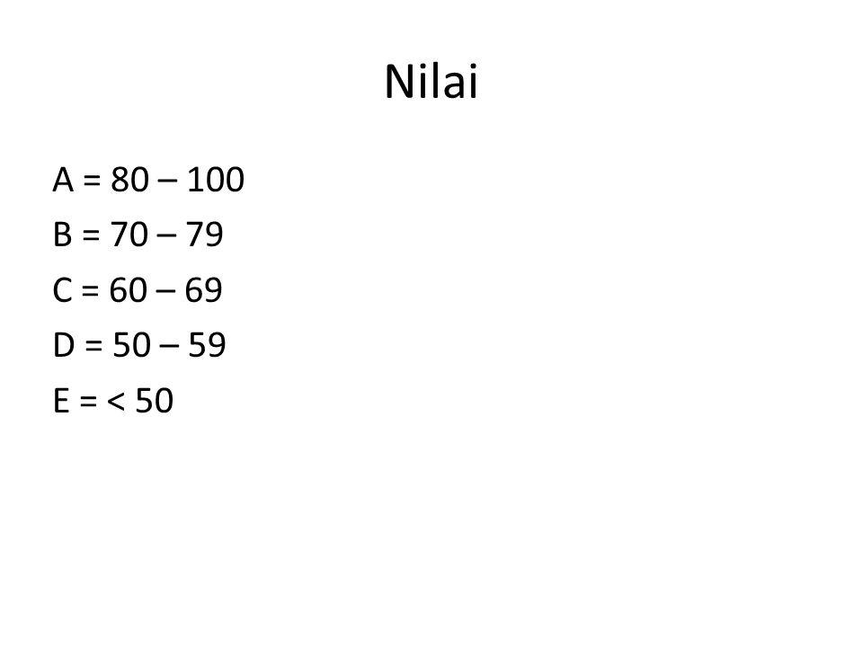 Nilai A = 80 – 100 B = 70 – 79 C = 60 – 69 D = 50 – 59 E = < 50