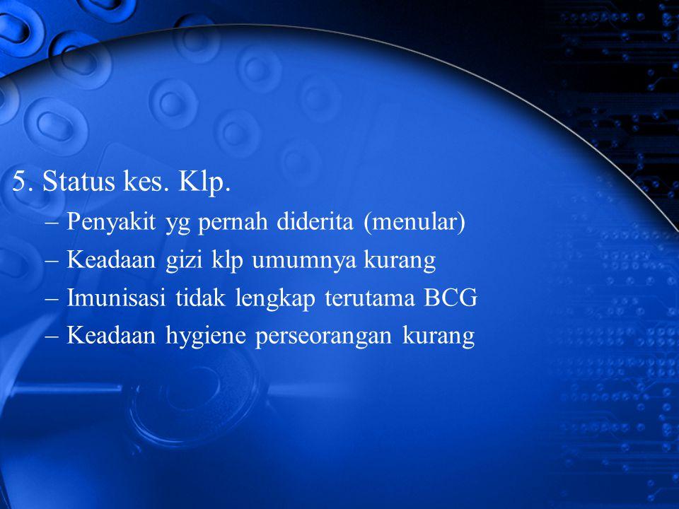 5. Status kes. Klp. Penyakit yg pernah diderita (menular)