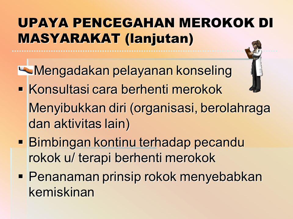 UPAYA PENCEGAHAN MEROKOK DI MASYARAKAT (lanjutan)