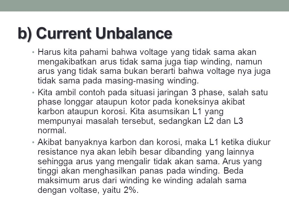 b) Current Unbalance