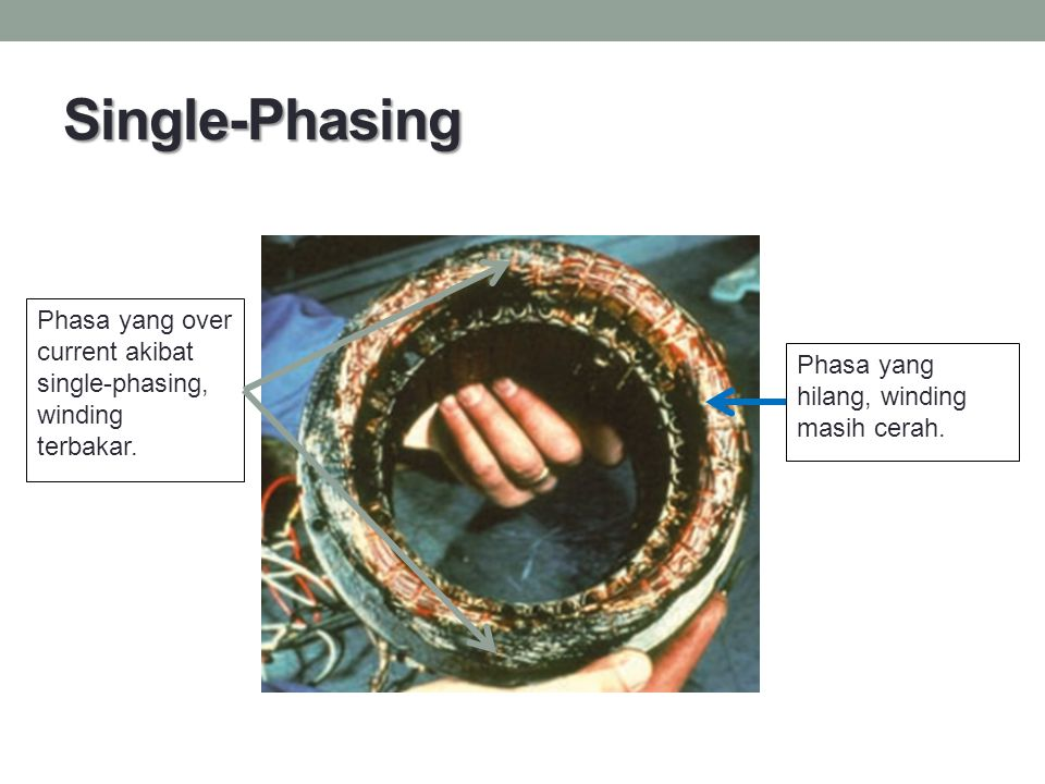 Single-Phasing Phasa yang over current akibat single-phasing, winding terbakar.